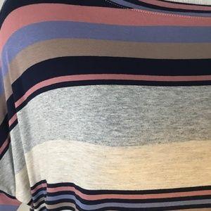 Agnes & Dora Tops - Boxy Tee Multi Stripe Navy Denim and Rose